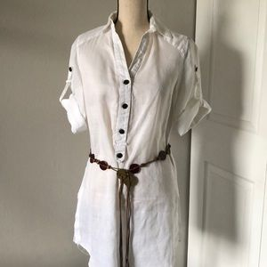 ZARA BASIC WHITE LINEN SHIRT DRESS